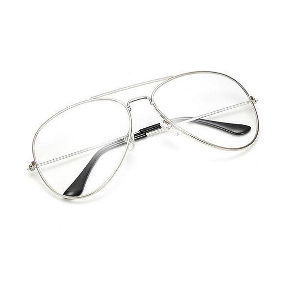 Strieborné číre okuliare pilotky  fb46fac2c5e