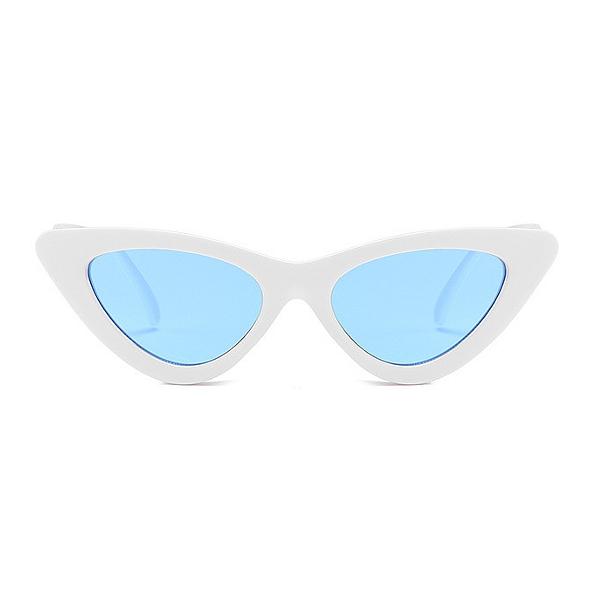 Biele dámske okuliare s modrými sklami