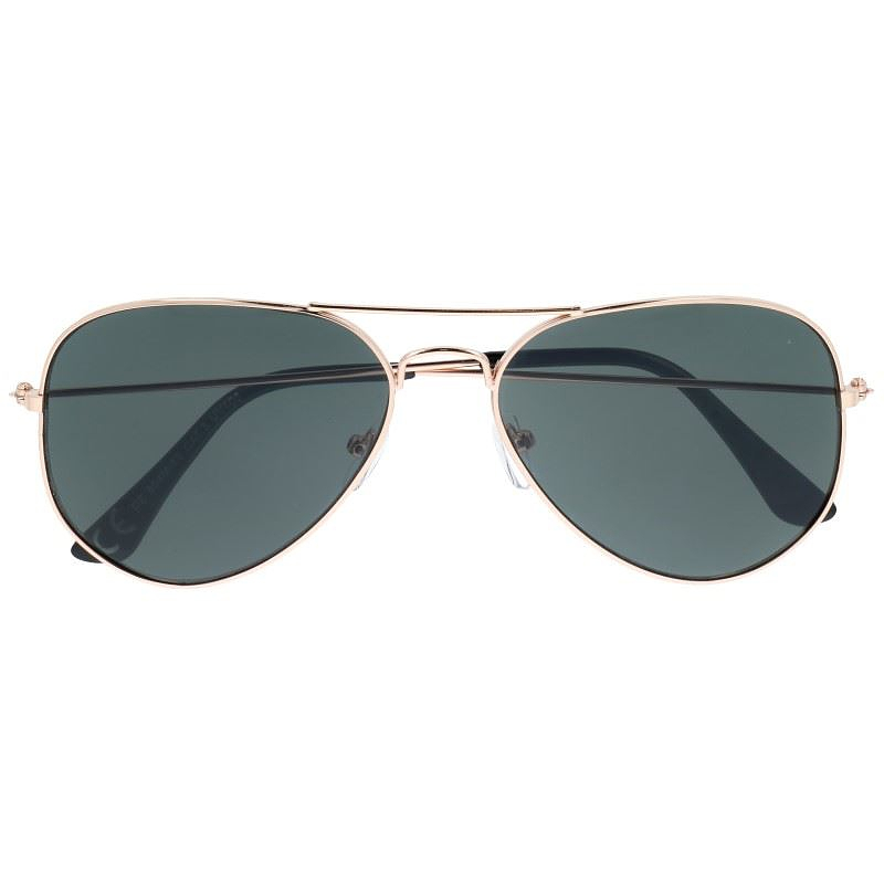 e390da489 Slnečné okuliare - zlaté pilotky s čiernymi sklami | Letnyhit.sk