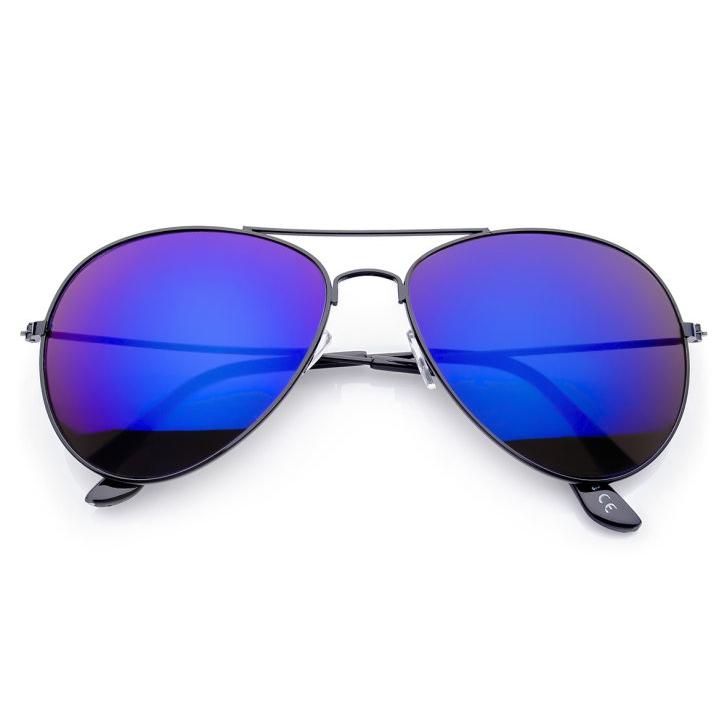229b6235c Čierno-modré zrkadlové okuliare pilotky | Letnyhit.sk