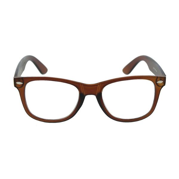 Hnedé číre okuliare wayfarer 14050e9efc7