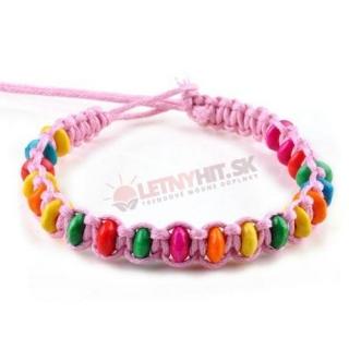 Ružový pletený náramok s farebnými korálkami empty 7d771b56ae8
