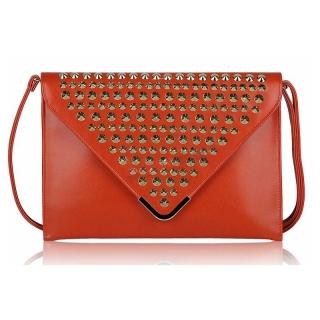 149f7c7d495c3 Oranžová vybíjaná listová kabelka