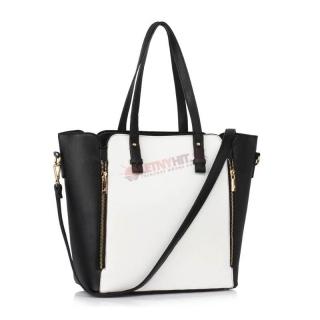 c8e38c0d4414 Čierno-biela kabelka na rameno zdobená zipsami