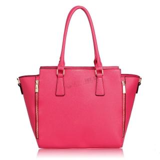 a5af93031f Ružová kabelka na rameno zdobená zipsami