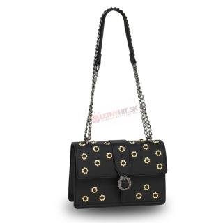Čierna crossbody kabelka s kvetinami