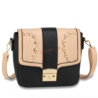 Hnedo-čierna elegantná crossbody kabelka