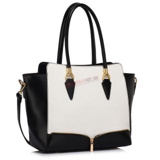 5fe7086bed57 Čierno-biela kabelka na rameno zdobená zipsom
