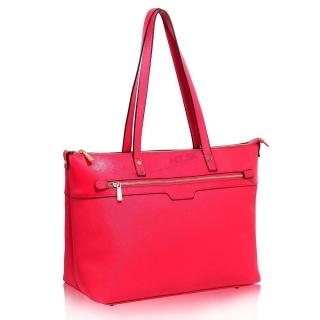 3831872c56 Ružová pololakovaná kabelka na rameno