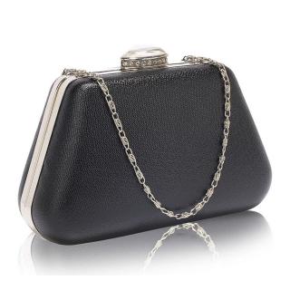 ec9c81391 Čierna spoločenská kabelka s brošňou