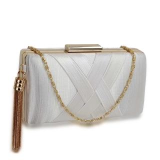 b83b44b884 Biela spoločenská kabelka s príveskom
