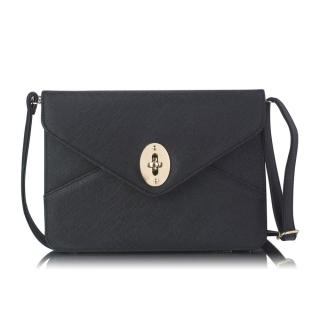 83daa0813 Čierna listová kabelka na gombík
