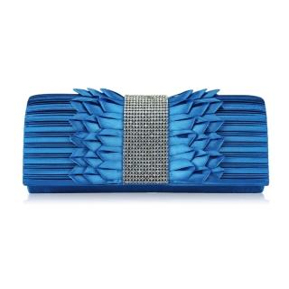 34684f1aa550 Modrá spoločenská saténová kabelka s brošňou