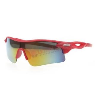 Červené zrkadlové cyklistické okuliare