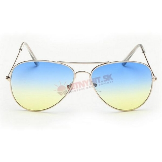 Dvojfarebné modro-žlté okuliare pilotky empty d93aab7d07f