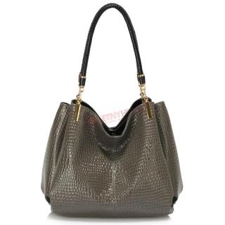 94289f4b8 Sivá luxusná lakovaná kabelka na rameno