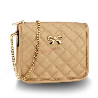 Zlatá crossbody kabelka s mašľou